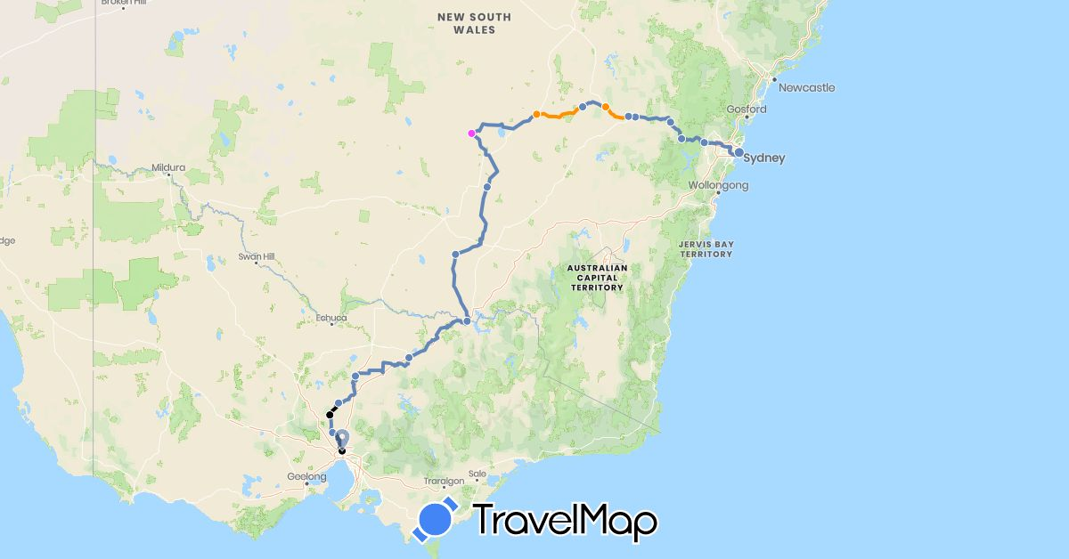 TravelMap itinerary: cycling, hitchhiking, rest days, sag vehicle in Australia (Oceania)